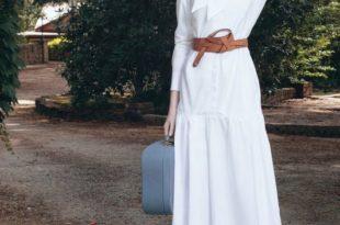 دريسات محجبات 2020 احدث دريس محجبات شيك - A person standing posing for the camera - Dress